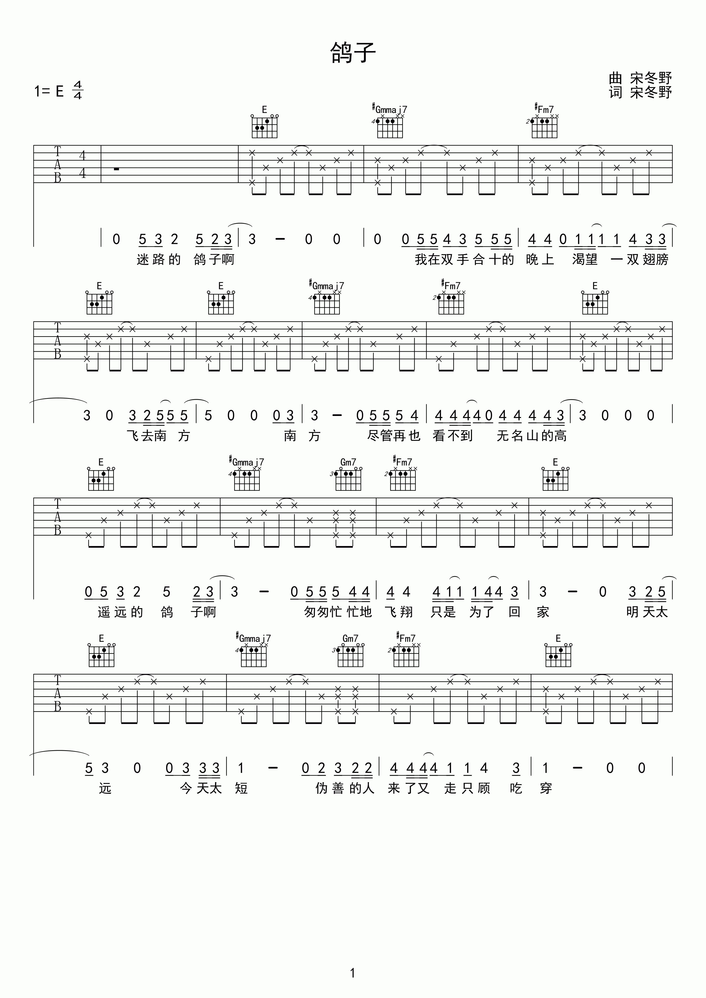 宋冬野鸽子的意思_宋冬野 鸽子吉他谱
