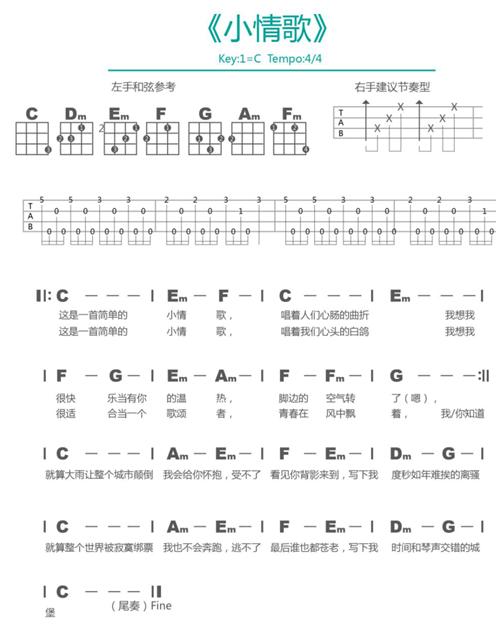 《小情歌尤克里里谱 苏打绿小情歌ukulele谱_尤克里》