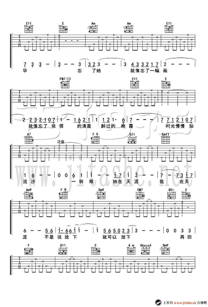 忘了她吉他谱_帕尔哈提《好先生》第24集插曲_弹唱谱-C大调音乐网
