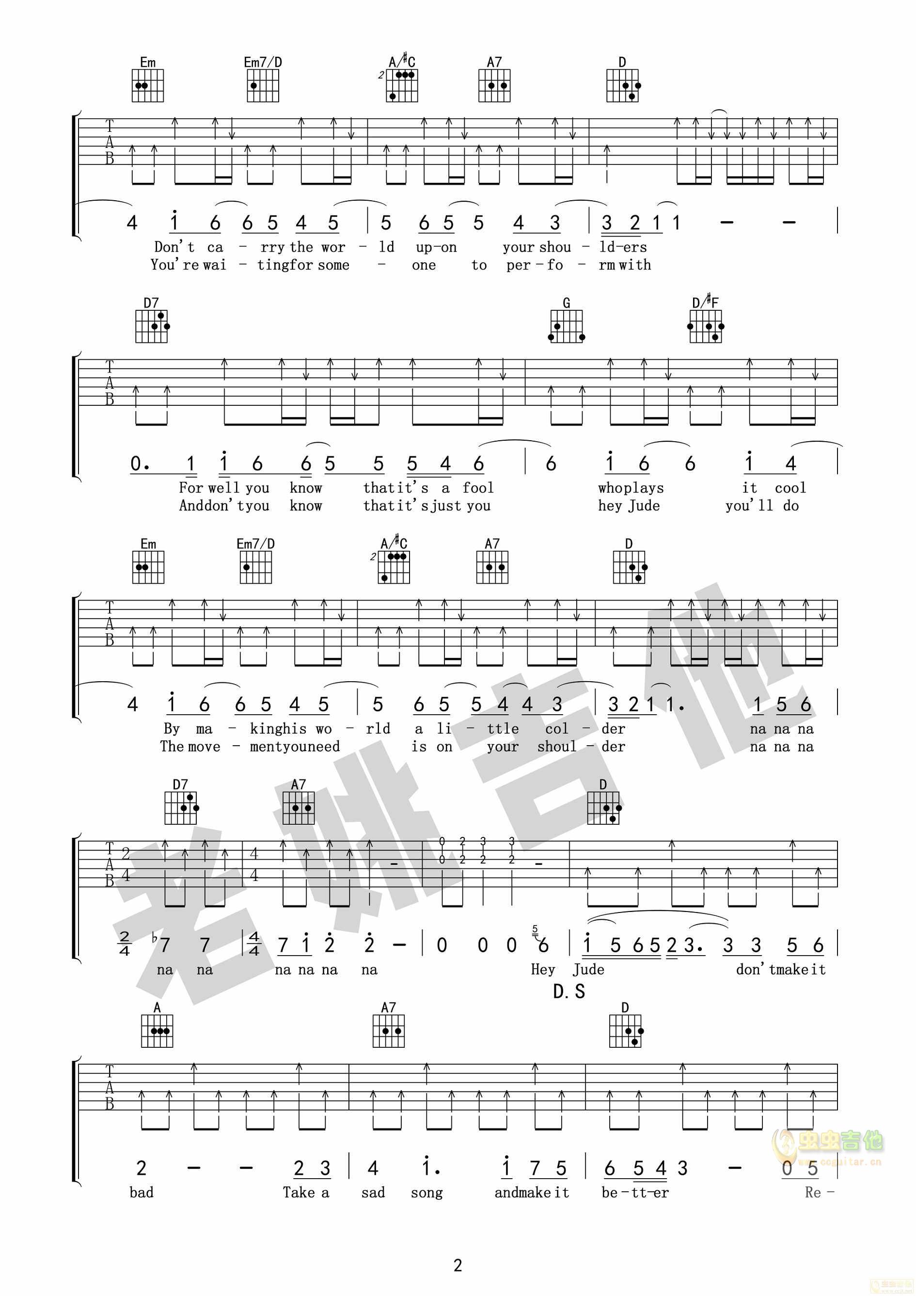 Hey Jude《嘿朱迪》吉他谱+视频教学[老姚吉他...-吉他谱-C大调音乐网