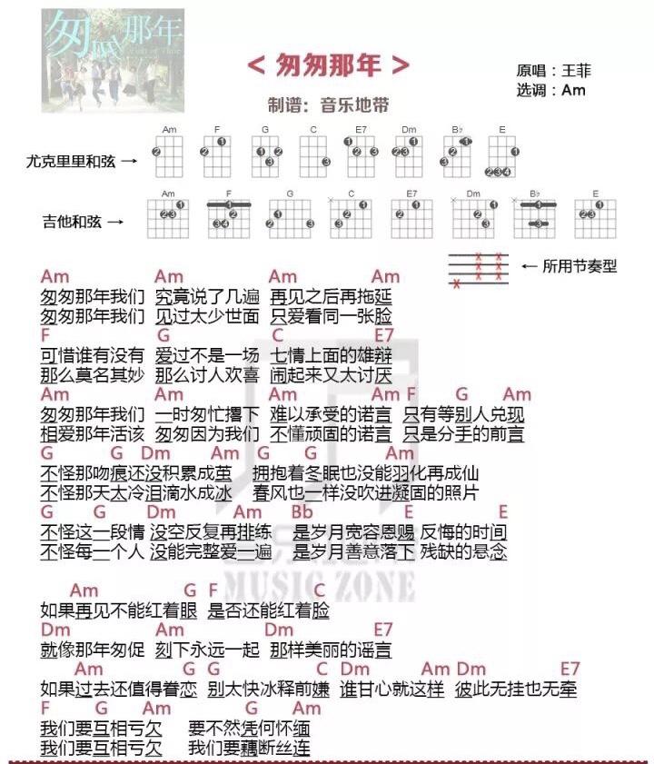 《匆匆那年》王菲 尤克里里弹唱曲谱-C大调音乐网