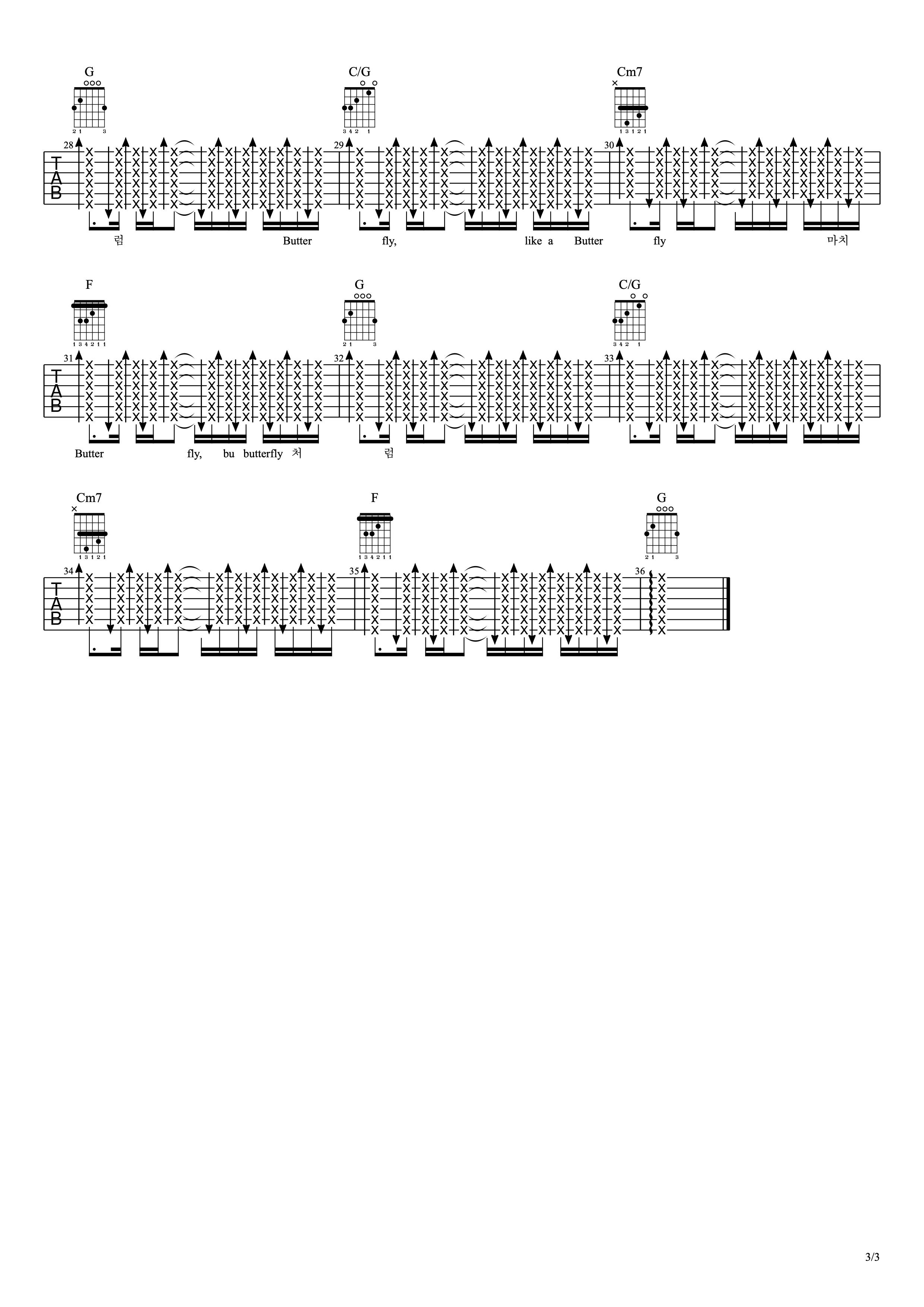 Butterfly 吉他谱-防弹少年团-C大调音乐网