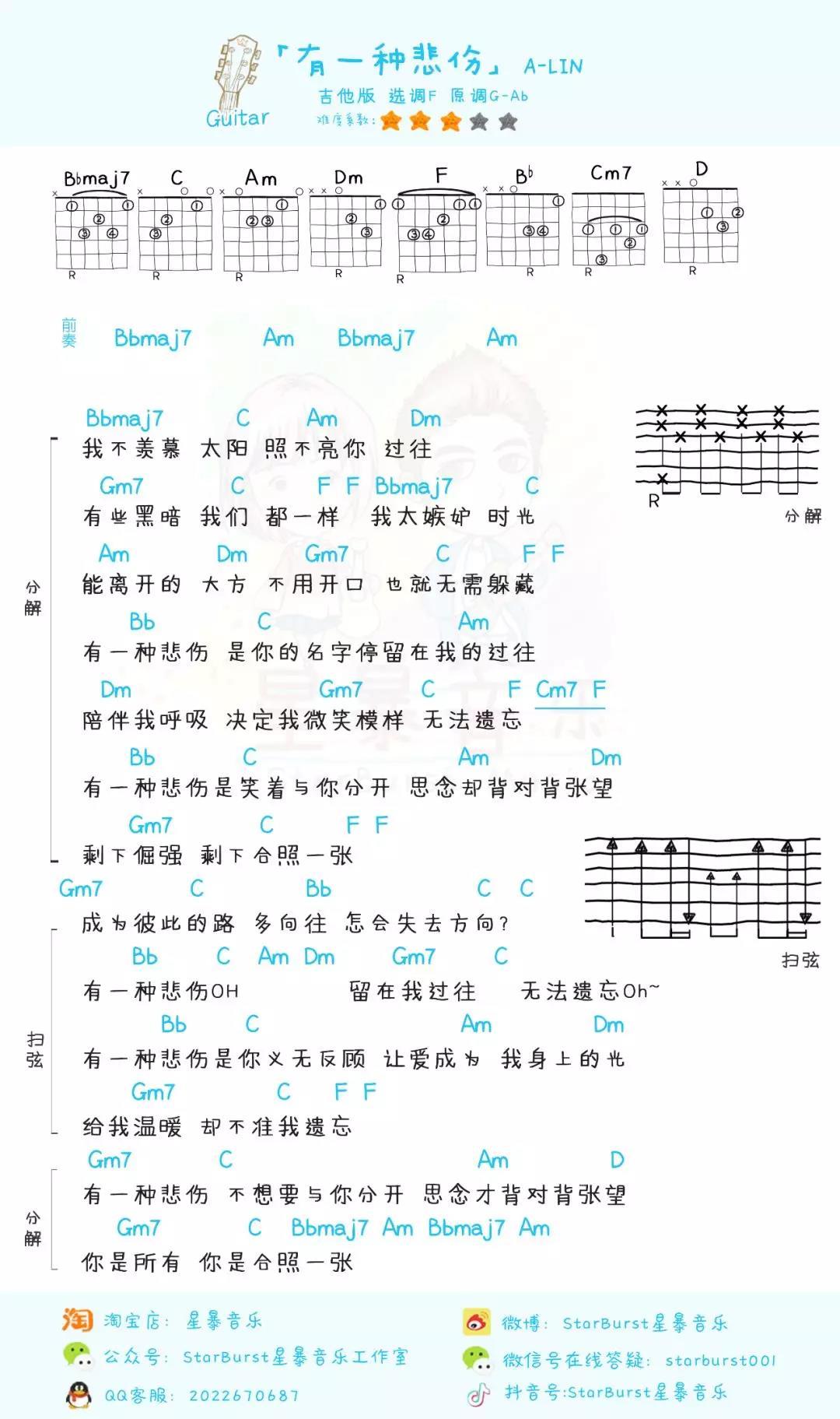 「有一种悲伤」尤克里里吉他弹唱教学+谱(A-Lin)星暴音乐-吉他谱-C大调音乐网