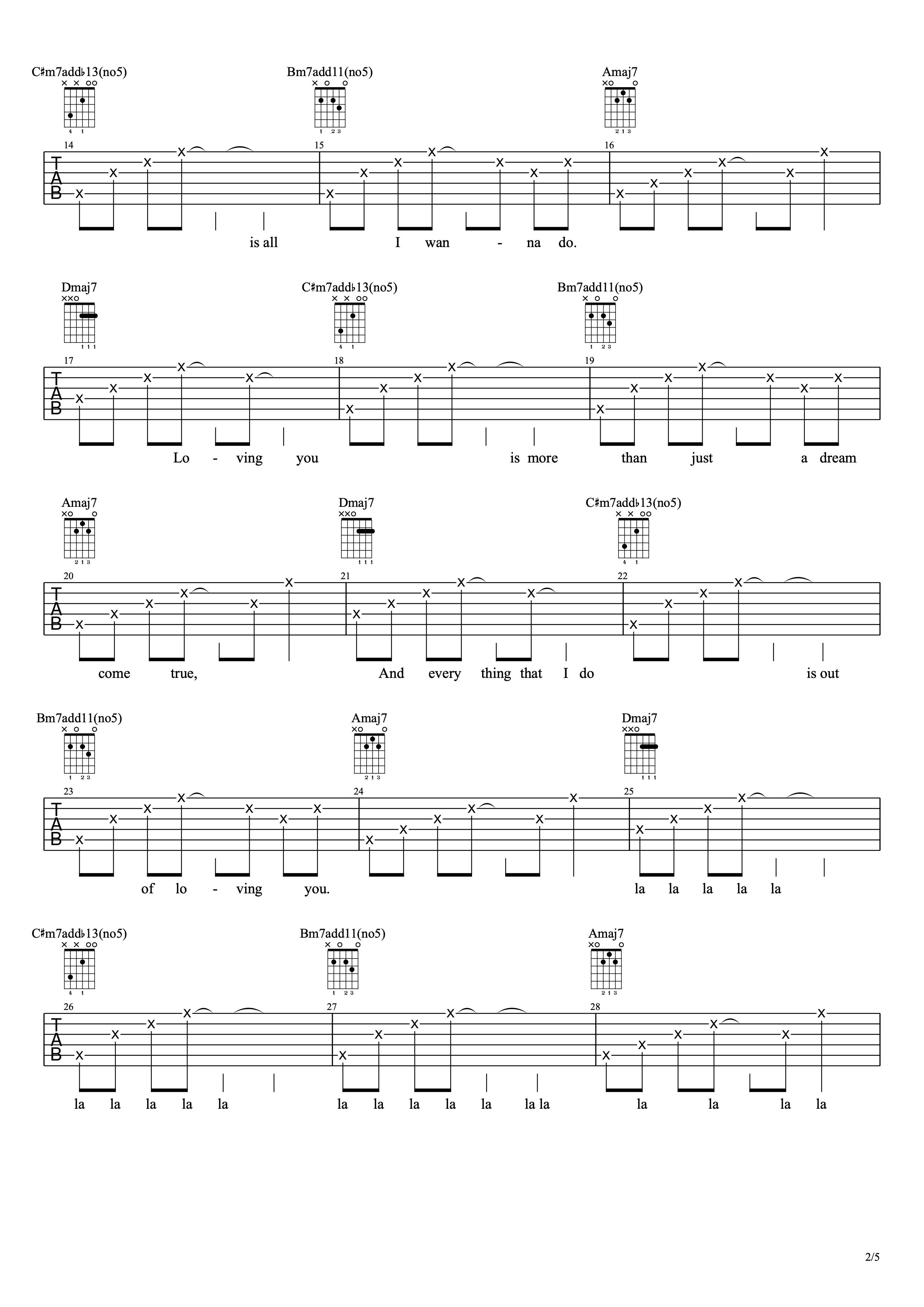 Loving U - IU版 吉他谱-C大调音乐网