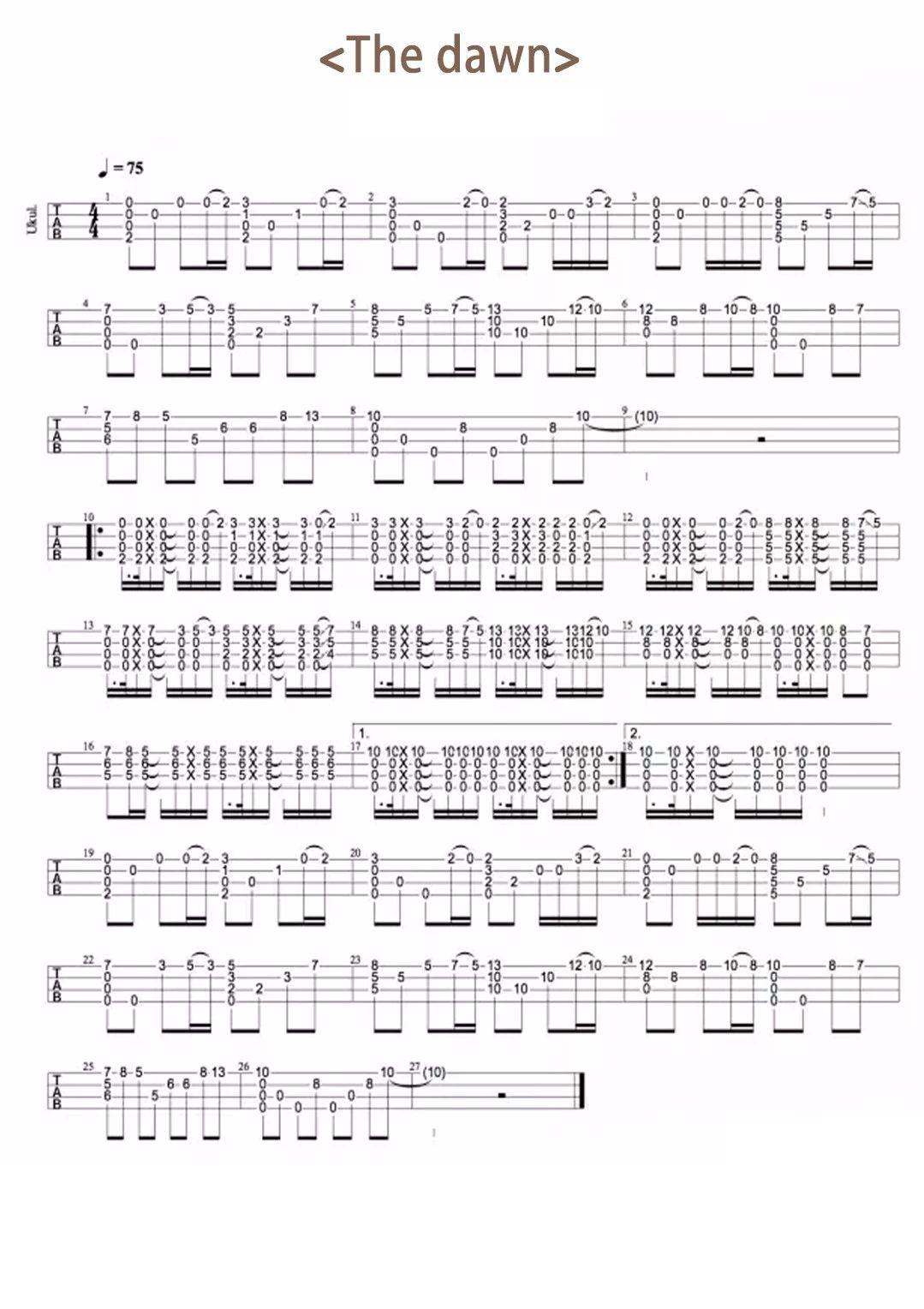 《The Dawn》亡灵序曲·尤克里里指弹曲谱-C大调音乐网